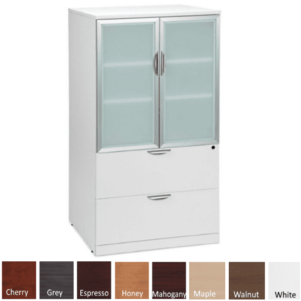 Combination Lateral File Storage Glass Door Cabinet - White with Colors