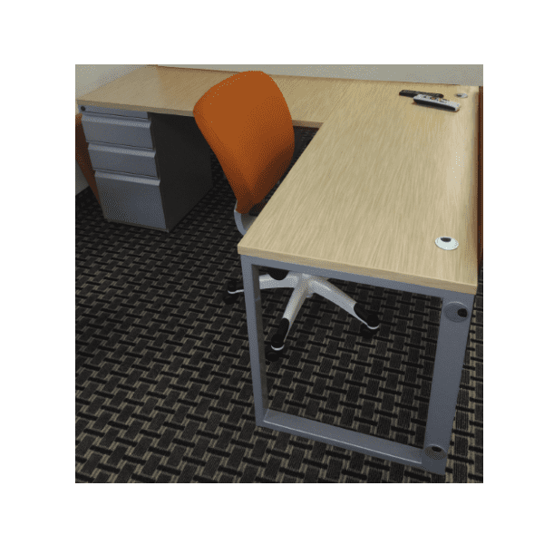 Connect iT L-Shape Desk Pedestal End - Silver - Wheat Strand Finish - Left Return