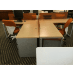 Connect iT L-Shape Pedestal End Desks - Wheat Strand - Silver - Orange Screens