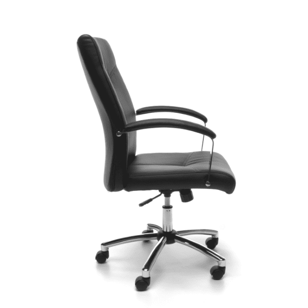 Contemporary Black Leather Swivel Tilt Chair