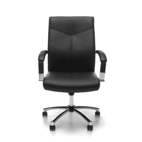 Contemporary Black Leather Swivel Tilt Chair - Facing