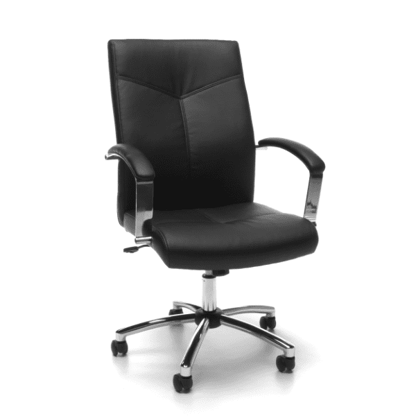 Contemporary Black Leather Swivel Tilt Chair - Main