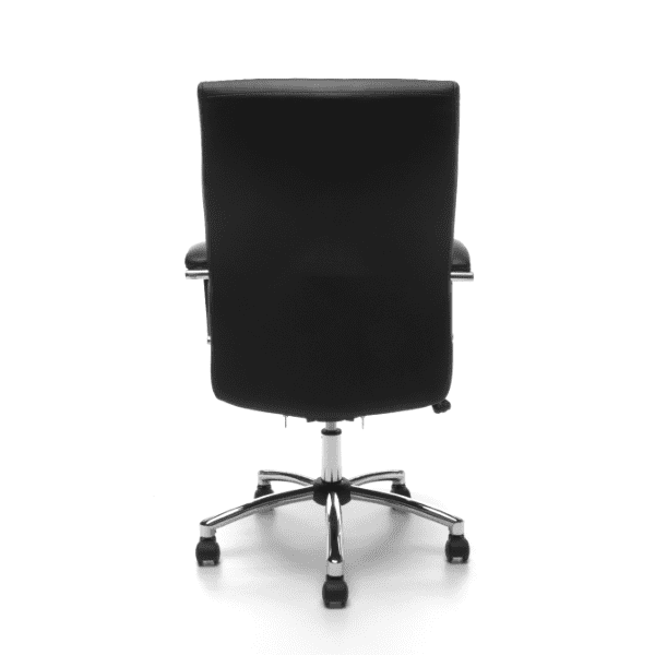Contemporary Black Leather Swivel Tilt Chair - Rear