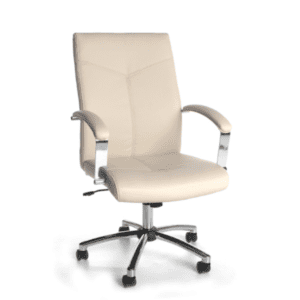 Contemporary Cream Leather Swivel Tilt Chair