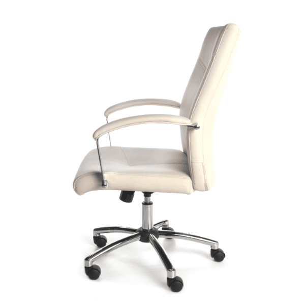 Contemporary Cream Leather Swivel Tilt Chair - Side