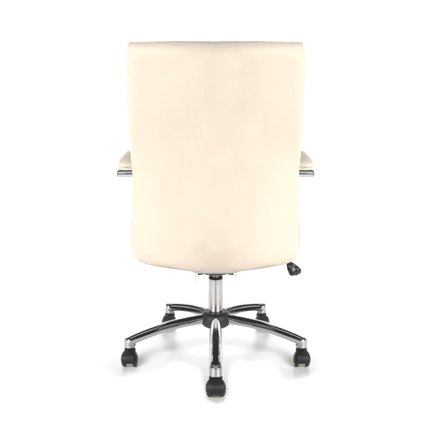 Contemporary Cream Leather Swivel Tilt Chair - rear
