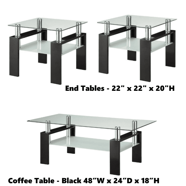Contemporary Glass Top Black Base Table Group dims
