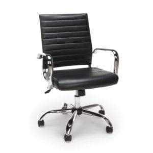New Ribbed Leather + Chrome Office Chairs - Black