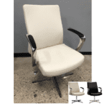 Express Leo 2005 Aluminum Swivel Base Guest Chair - Cream or Black - In Stock Contract Seating