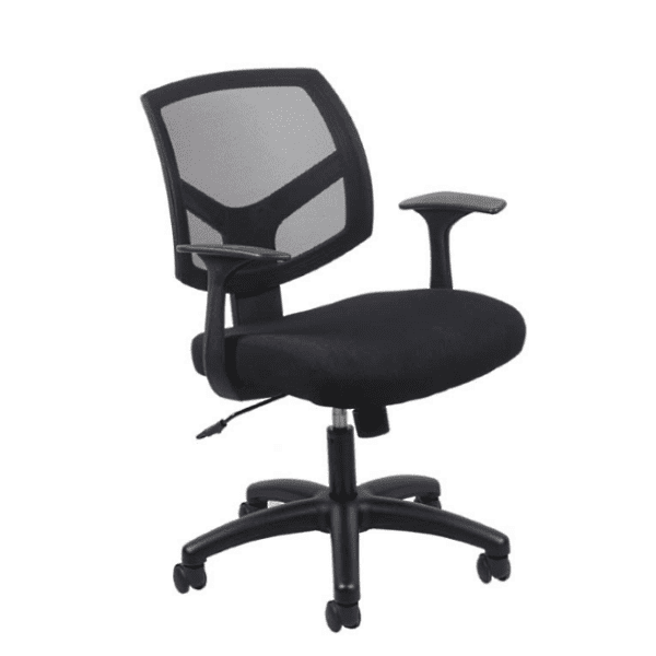 Fixed Arms Black Mesh Curve Back Chair