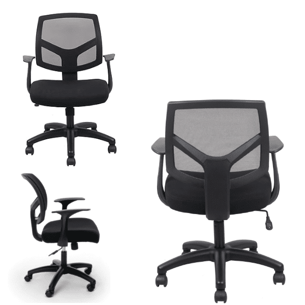 Fixed Arms Black Mesh Curve Back Chair Views