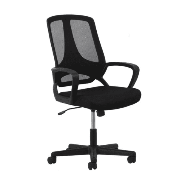 Fixed Arms Black Mesh High Back Chair