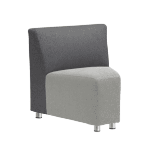 Two-Tone Modular Reception Corner Armless Chair - Charcoal Back with Light Gray Seat