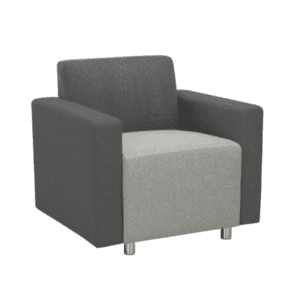 Two-Tone Modular Reception Lounge Arm Chair - Charcoal Back with Light Gray Seat