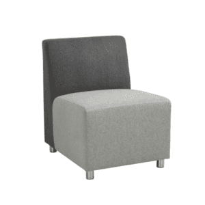 Two-Tone Modular Reception Lounge Armless Chair - Charcoal Back with Light Gray Seat
