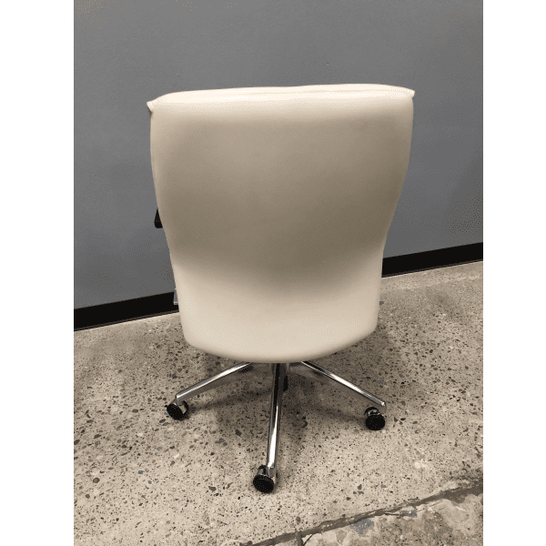 Leo 2002 Contemporary Mid-Century Hybrid Cream Mid Back Executive Chair - Rear