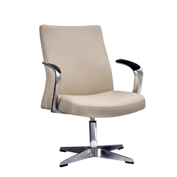 Leo 2002 Contemporary Mid-Century Hybrid Cream Mid Back Guest Chair - Main