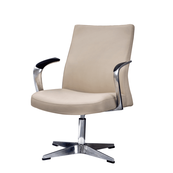 Leo 2002 Contemporary Mid-Century Hybrid Cream Mid Back Guest Chair - Rev
