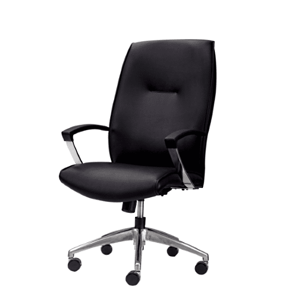 Leo 5002 Contemporary Black Mid Back Executive Chair - Rev