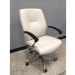 Leo 5002 Contemporary Cream Mid Back Executive Chair - Main