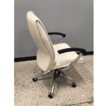 Leo 5002 Contemporary Cream Mid Back Executive Chair - Side
