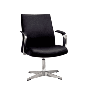 Leo Contemporary Mid-Century Hybrid Black Guest Swivel Base Chair - Main