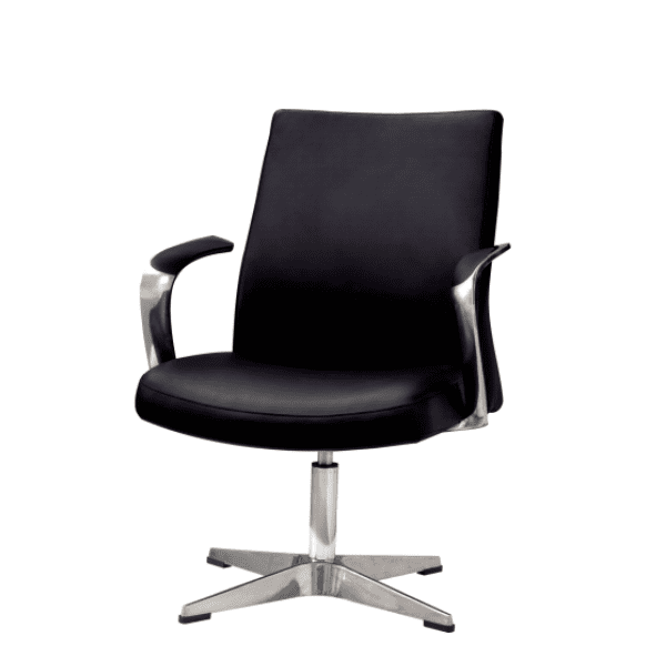 Leo Contemporary Mid-Century Hybrid Black Guest Swivel Base Chair - Rever