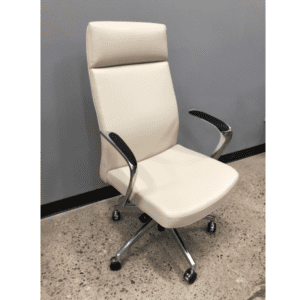 Leo Contemporary Mid-Century Hybrid Cream High Back Executive Chair - Main