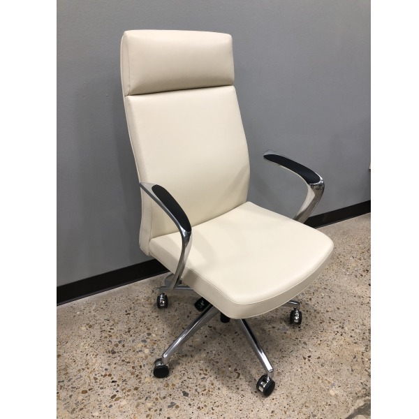 Mid Century Modernist High Back Or Desk Chair W New: New Leo 2001 High Back Chair In Cream Or Black Leather