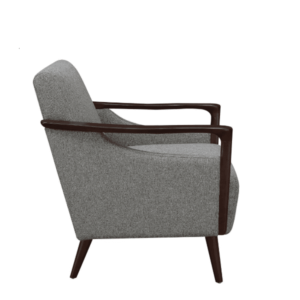 Mid Century Grey Fabric Lounge Arm Chair - Side