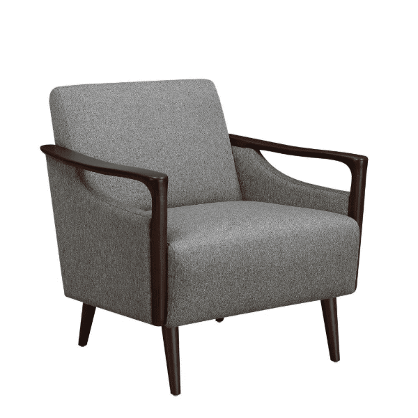 Mid-Century Grey Fabric Lounge Chair