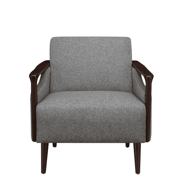 Mid-Century Grey Fabric Lounge Chair Facing