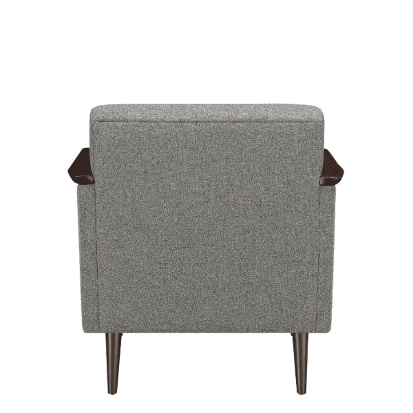 Mid-Century Grey Fabric Lounge Chair Rear