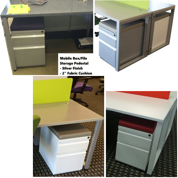 Mobile Box File Storage Pedestals Array - White & Silver with 2 Inch Colorful Cushions