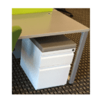 Mobile White Box File Storage Pedestal with 2 Inch Colorful Cushion Top