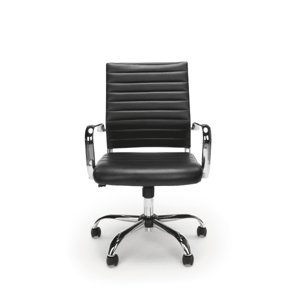 New Ribbed Leather + Chrome Office Chairs - Facing - Black