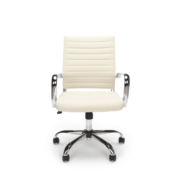 New Ribbed Leather + Chrome Office Chairs - Facing - Ivory