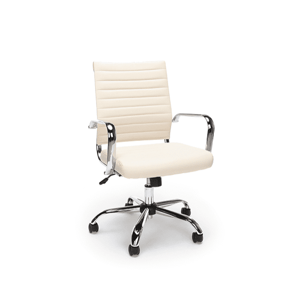 New Ribbed Leather + Chrome Office Chairs - Ivory