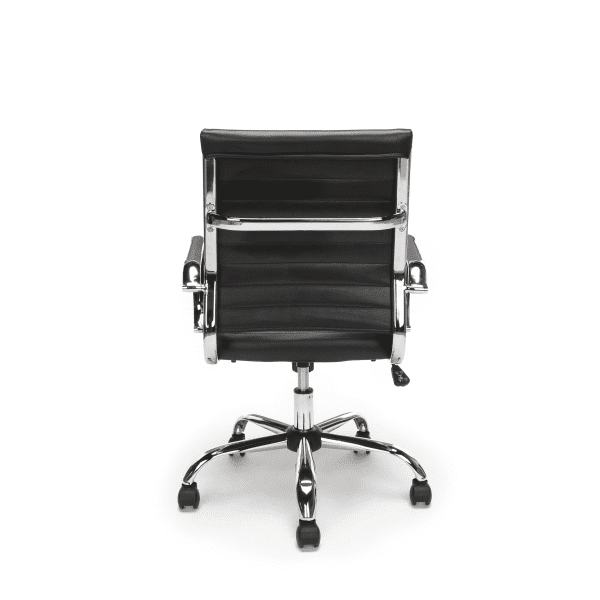 New Ribbed Leather + Chrome Office Chairs - Rear - Black
