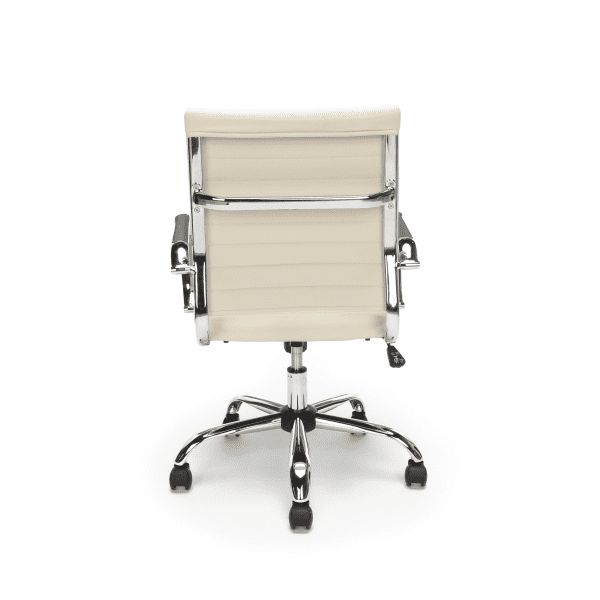 New Ribbed Leather + Chrome Office Chairs - Rear - Ivory
