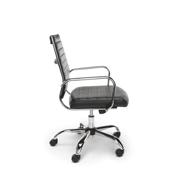 New Ribbed Leather + Chrome Office Chairs - Side - Black