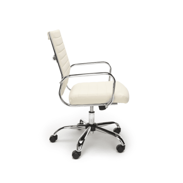 New Ribbed Leather + Chrome Office Chairs - Side - Ivory