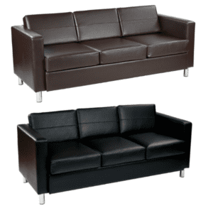 Panda Modern Black & Espresso Sofa with Round Chrome Accent Legs