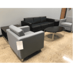Panda Modern Black & Gray Mix Seating with Round Chrome Accent Legs Setting