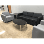 Panda Modern Black Sofa & Gray Reception Chairs Group with Round Chrome Accents