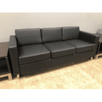 Panda Modern Black Sofa with Round Chrome Accent Legs