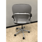 USed Steelcase Leap Chair Version 2 in Silver Frame on Black Fabric - Rear