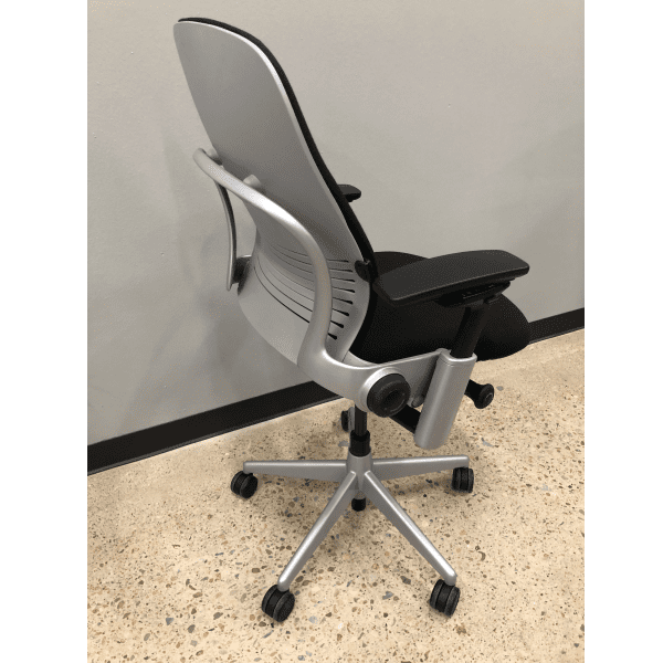Used Steelcase Leap Chair Version 2 in Silver Frame on Black Fabric - Rear View