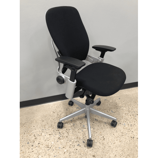 Used Steelcase Leap Chair Version 2 in Silver Frame on Black Fabric - sec