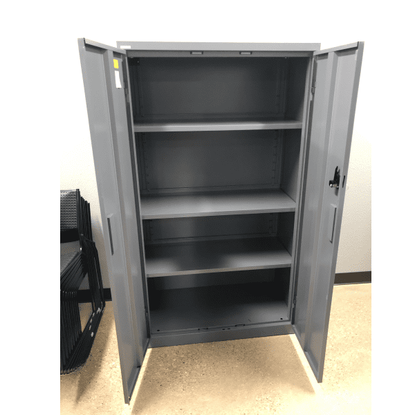 Steelcase Storage Cabinet - Open Doors - Charcoal